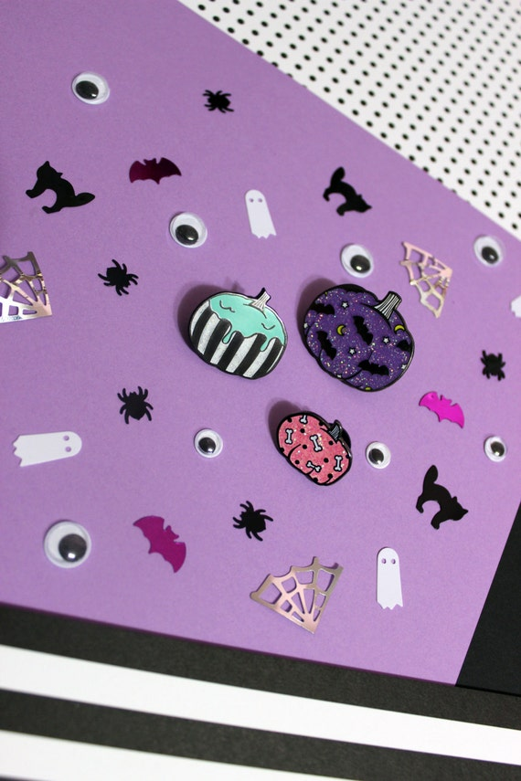 Pastel Goth Halloween Pumpkin Enamel Pin Set or Individual - Bats Bones Slime Glitter Hard Enamel Pins