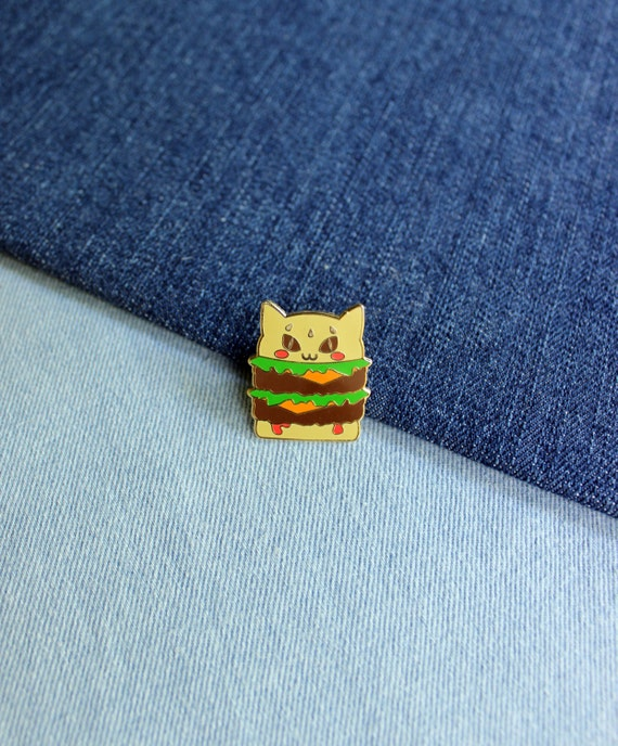 Double Catburger With Cheese Hard Enamel Pin