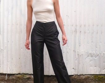 Vintage Donna Karan Collection Early 1990's Black Silk Mid Waisted Tailored Straight Leg Trousers Pants S/M 27