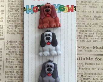 Dog Pups Puppy Buttons Pets and Pals Collection by Buttons Galore, Carded Set of 3, Style PP122, Shank Back Buttons