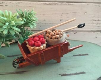 Miniature Harvest Wheelbarrow by Reutter, Dollhouse Miniature, 1:12 Scale, Miniature Garden Decor, Retiring Item