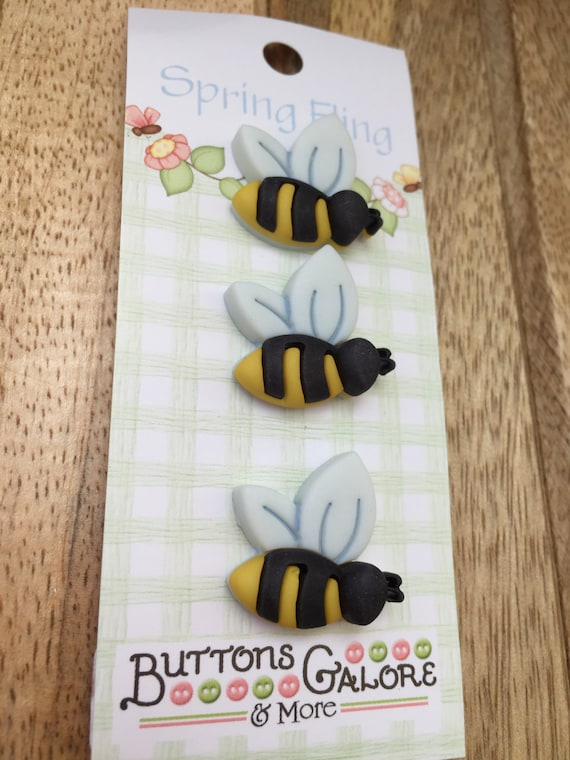Bumble Bee Buttons, Spring Fling Collection by Buttons Galore, Carded Shank Back Novelty Buttons, Set of 3, Embellishments