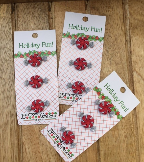 Peppermint Candy Buttons, Carded Buttons by Buttons Galore, Holiday Fun Collection, Set of 3 Shank Back Candy Buttons, Sewing, Crafts
