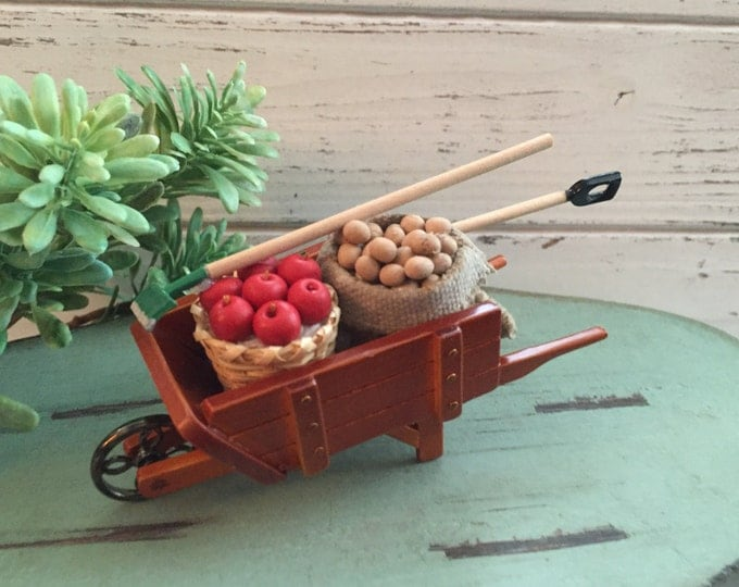Featured listing image: Miniature Harvest Wheelbarrow by Reutter, Dollhouse Miniature, 1:12 Scale, Miniature Garden Decor, Retiring Item