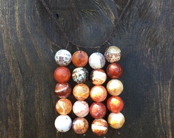 Fire Agate Beaded Necklace