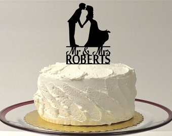 MADE In USA, Wedding Cake Topper,  Mr and Mrs Cake Topper, Silhouette Wedding Cake Topper, Custom Personalized with YOUR Last Name + Date