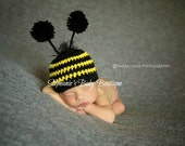 Crochet Baby Bumble Bee Hat, Custom Made, Newborn, 0-3, 3-6 Months, Boy, Girl, Photo Prop, Baby Shower Gift, Bug Beanie, Halloween Costume