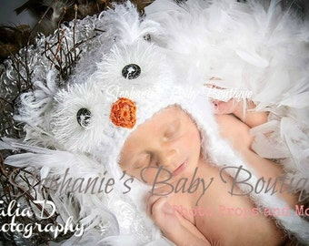 Crochet Baby Boy Girl, Snowy Owl Ear Flap Hat, Custom Made To Order, Newborn, 0-3, 3-6 Months, Photo Photography Prop, Baby Shower Gift,
