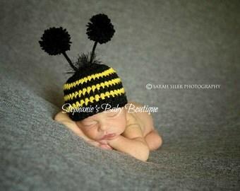 Crochet Baby Bumble Bee Hat, Custom Made, 6-12 Months, Toddler, Boy, Girl, Photo Prop, Baby Shower Gift, Bug Beanie, Halloween Costume
