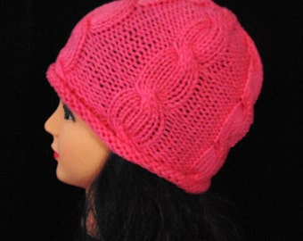 Pink Knitted Cables Beanie Hat, Rolled Brim Hat, Pink Beanie