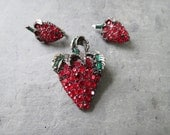 Vintage Red Rhinestone Strawberry Jewelry Set - Clip on Earrings & Brooch by PELL