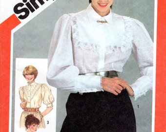 1980s Prairie Blouse Pattern - Vintage Simplicity 5455 - Bust 38 UNCUT FF Frilly Poet Shirt with Large Collar
