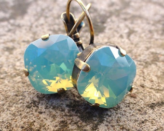 Mint Green Opal Swarovski Crystal Earrings, Square Cut Green Opal Swarovski Earrings, Bridesmaid Earrings, Cushion Cut Pacific Opal Crystal