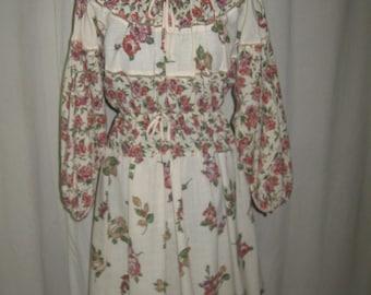 Vintage 70s 80s Boho Gyspy Body English Floral  Dolmen Sleeve Peasant Dress Medium