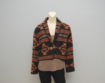 Vintage 1990's Cropped Aztec Patterned Woven Jacket Coat 90's Size Medium Southwestern Bohemian Black Orange and Brown