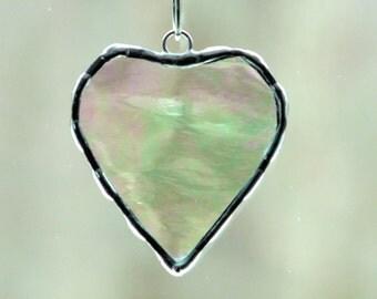 Stained glass suncatcher, heart suncatcher, iridescent mini heart gift under 10, Valentines day gift glass heart keepsake, bridal shower