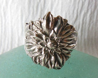 Antique Sterling Silver Spoon Ring   Size 6