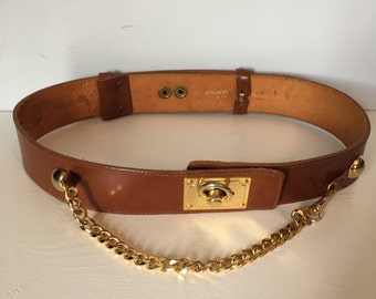 "27-28"" Waist Belt / Vintage Leather Belt / Gold Hardware High Waist Statement Belt / Gold Chain Belt / Copper Brown and Gold"