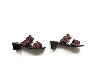Vintage Leather Slides 8 / Brown Leather Sandals / Slip On Sandals / Leather Mules