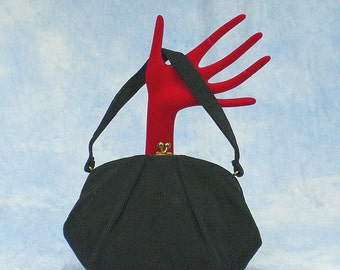 Vintage 40s 50s Mardane Black Cordé Purse Handbag, Outstanding Condition