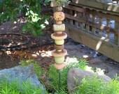 Ceramic Bird Garden Totem with Handcrafted Beads - Imprinted Plants - Textures on Beads - Bird on Branch - Yard Decor - Garden Lover
