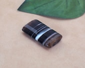 Banded Onyx 30x20mm Faceted Focal Bead Pair, Custom Order for Allison