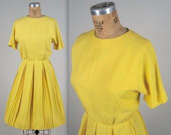 1950s sunny office dress • vintage 50s dress • rayon crepe dress