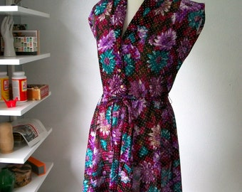 Fuchsia Teal Purple Flower Power Dress with swiss dot print - Vintage 80s 90s