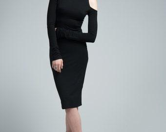 Black Dress / Bare Shoulder Dress / Pencil Dress / Party Dress / Midi Dress / Cocktail Dress / marcellamoda - MD603