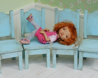 Chair Wooden For Tiny Dolls Handmade Diorama Irrealdoll Lati Yellow Pukiefee Blythe Littlefee Blue