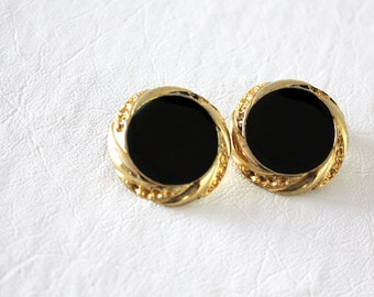 vintage black and gold earrings / cirles, post earrings, elegant, party, glass stone, costume jewelry