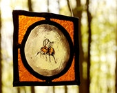 MADE TO ORDER Stained Glass Panel -  Summer Bee with Engraved honey comb Great Gift