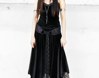 WITCHY BLACK VELVET maxi skirt - stretch velvet cotton spandex