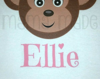 Girls Monkey Shirt, Monkey with Bow Shirt or Bodysuit, Girl Monkey Shirt or Bodysuit,Newborn 3 mo 6 mo 9 mo 18 mo 24 mo 2t 3t 4t 5 6 8 10 12