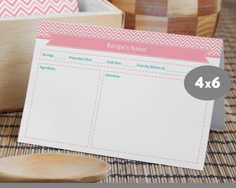 Printable Recipe Card with Divider, 4x6, Editable PDF