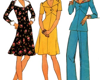 Simplicity 7134 Empire Waist Dress Top & Pants 70s Vintage Sewing Pattern Size 12 Bust 34 inches