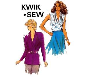 80s Stretch Wrap Tops Pattern Kwik Sew 1725 Sleeveless or Long Sleeved Sizes XS - L UNCUT Factory Folds