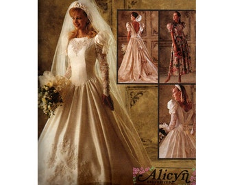 McCall's 6885 90s Wedding Dress Pattern Drop Waist Low Back Puff Sleeves Prom Formal Bridesmaid Bridal Gown Size 12 14 16 UNCUT Factory Fold