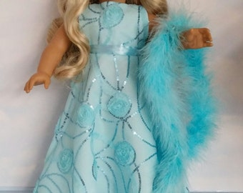 18 inch doll clothes - #265 Light Aqua Gown made to fit the American Girl Doll - FREE SHIPPING