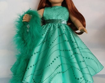 18 inch doll clothes - #270 Green Sparkly  Gown handmade to fit the American Girl Doll - FREE SHIPPING