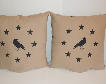 UNSTUFFED Primitive Pillow Cover Sofa SET Pair Crow and Barn Stars 15 x 15 Inch Lot Country Home Decor Case Sham Decorative Tan wvluckygirl