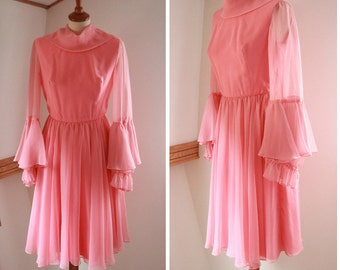 Bell Sleeve Pink Chiffon 1960's Dress by Susan Small