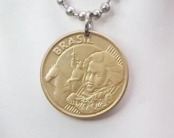 Brazil Coin Necklace, 5 Centavos Coin, Coin Pendant, Men's Necklace, Women's Necklace, 2008