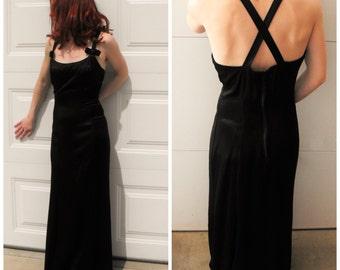 90s Black Satin Dress Long 7 XS Open Back Formal Gown