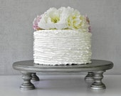 """Silver Cake Stand 14"""" Round Cupcake Aged Vintage Silver Cake Topper Wedding Decor E.Isabella Designs As Featured In Martha Stewart Weddings"""
