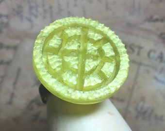 Yellow Statement Ring - Vintage Luster Button w/ Deep Carved Detail - Dimensional Button - Retro Vintage Ring - R29