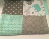 Baby blanket gender neutral elephant giraffe green gray grey flannel