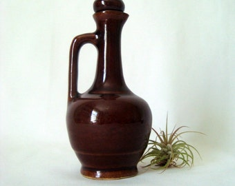 Cruet with Stopper Brown Vintage Farmhouse Rustic