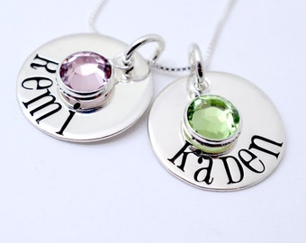 Personalized Two Disc Birthstone Name Necklace - Grandma Nana Mommy Necklace - Kid's Names - Best Friends Necklace - Mother's Day Gift
