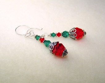 Crystal Earrings Red and Green Christmas Earrings for Women Holiday Jewelry Gift Ideas for Her Silver Dangle Earings Crystal Earings
